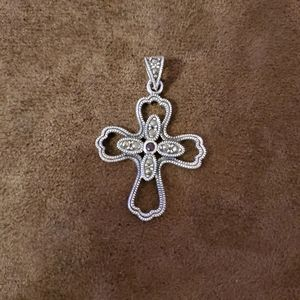 SILVERTONE CROSS WITH LITTLE SPARKLES